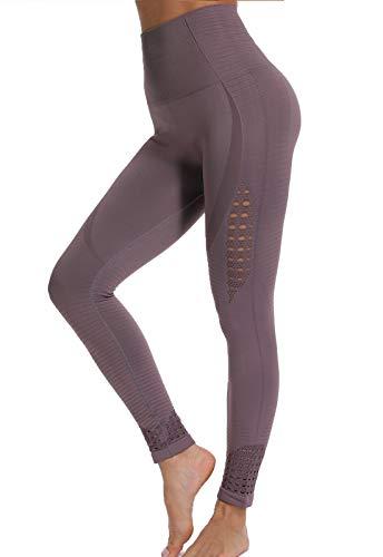 FITTOO Leggings Sin Costuras Mujer de Alta Cintura Yoga Elásticos y Compresivo Fitness Morado Medium