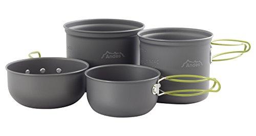 Andes Portable 3-4 Person Aluminium Camping Hiking Pot & Pan Cookware Set