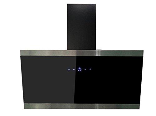 respekta kopffreie Schräghaube Dunstabzugshaube Abzugshaube Wandhaube Glas 90 cm schwarz EEKL A+ / Touch Control / Abluft und Umluft / LED