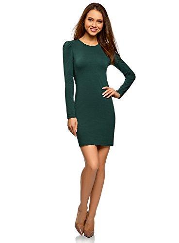 oodji Ultra Damen Enges Jersey-Kleid, Grün, DE 40 / EU 42 / L (Jersey-kleid Weiches)