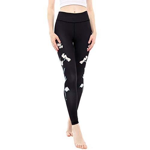 QQAAZZ Blume Gedruckt Yoga Hose Frauen Fitness Sport Leggings Hohe Taille Ausgestattet Stretch Gym Strumpfhosen Leggings Athletisch - Ausgestattet Flare-hose