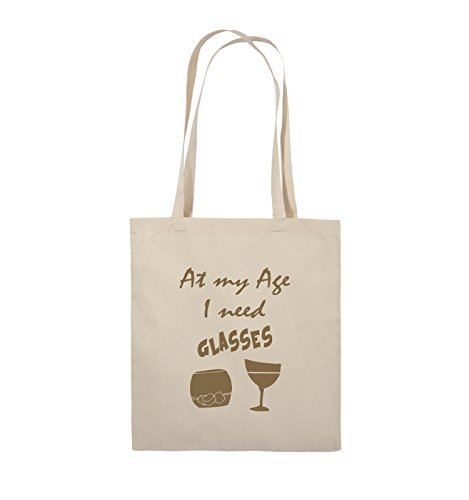 Comedy Bags - At my Age I need GLASSES - Jutebeutel - lange Henkel - 38x42cm - Farbe: Schwarz / Silber Natural / Hellbraun