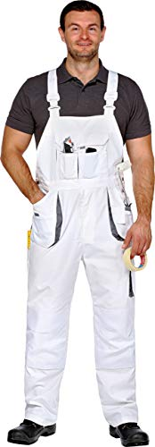 Arbeitslatzhose Latzhose Maler-Latzhose Power-Worker weiß-grau Gr.42-68/25-30/90-110 (26)