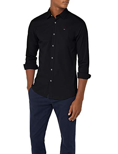 340827a8e5 Tommy Jeans Uomo Original Stretch Camicia Maniche lunghe Slim Fit Nero  (Tommy Black 078)