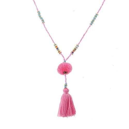 Lureme Bohemia Perlen Edelstein Quaste Halskette mit Pom Pom Anhänger-Rosa (nl005474-2)