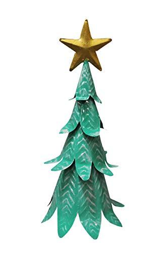 Sapin de noël en métal Vert Peint - Objet décoratif Artisanal à Poser - Sapin Nature 01