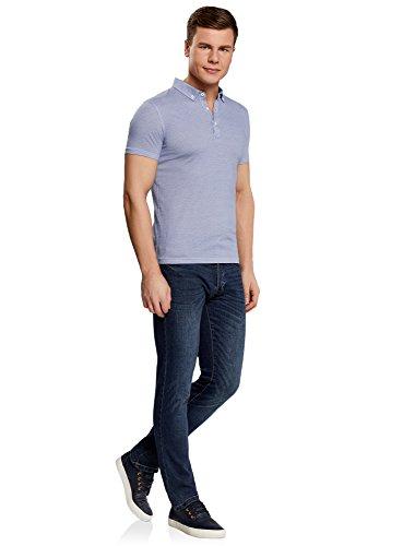 oodji Ultra Herren Poloshirt mit Feinem Muster und Knopfen Am Kragen Blau (1075G)