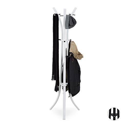 Relaxdays Garderobenständer Style, Stabile Standgarderobe aus Metall für Jacken, 175 cm hoher Kleiderständer, Weiß