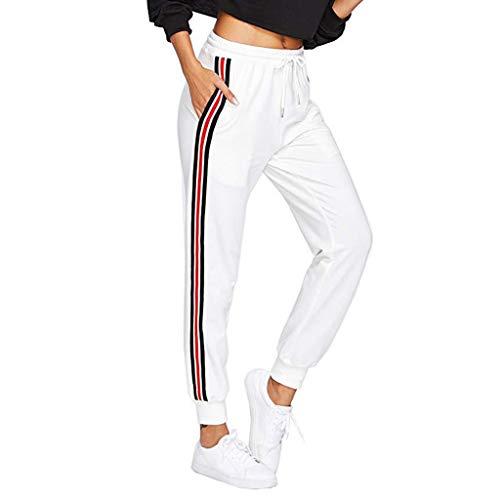 Zarupeng Damen Lose Jogginghose Cargo Hosen Hohe Taille Pluderhosen Elastische Taille Streifen Beiläufige Hosen -