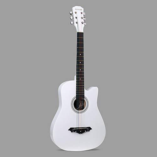 k-Akustikgitarre Hochwertige Buche Anfänger üben Young Boys Girls Gitarre mit Bag Strap String Tuner Capo Poliertuch ( Color : White ) ()