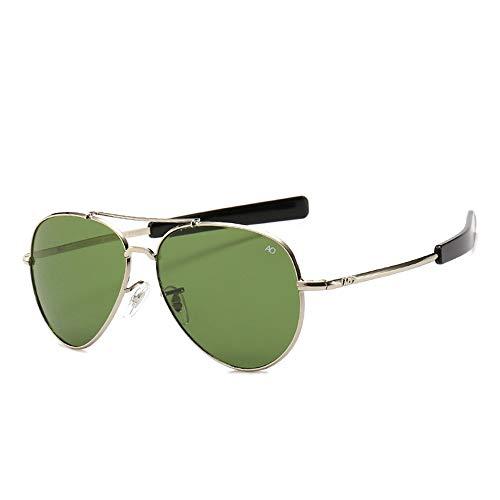 HUWAIYUNDONG Sonnenbrillen,Vintage Aviation Sunglasses Men American Army Military Optical Ao Sun Glasses Women Sliver-Green