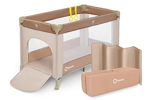 Lionelo Suzie 2in1 Reisebett Baby Laufstall Baby ab Geburt bis 15kg, Moskitonetz, Tragetasche, zusammenklappbar (Cappuccino)