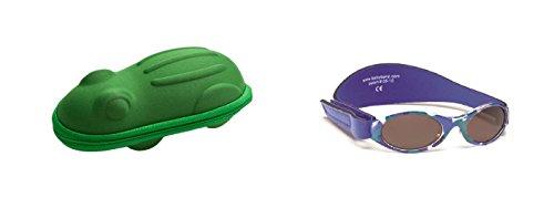 Lunettes de soleil BabyBanz- Bébé 0 à 24 mois , Bleu Camo, et un étui lunettes de soleil Yoccoes - en forme de Grenouille Vert