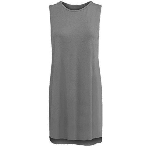 Janisramone Nouveau femme Haut Imprimé Été Double fente sur les côtés Sans Manches longue haut double fente Argenté gris