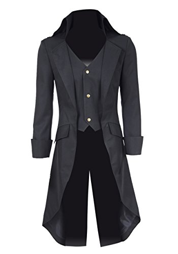 QianQian Herren Cosplay Kostüm Steampunk Graben Mantel Smoking Jacke (M, Schwarz)