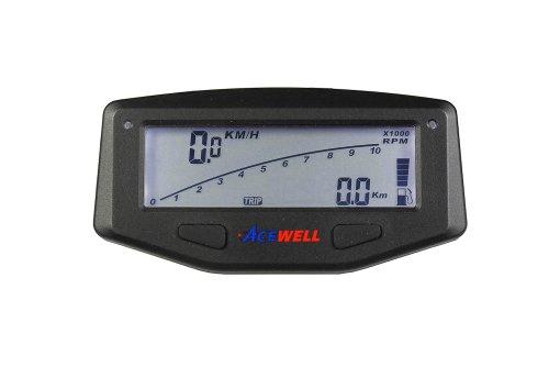 Acewell ACE-1600S Tachometer für Motorräder mit Drehzahlmesser Funktion, Temperatur-, Tankanzeige, LED Schaltwarnung, schwarz