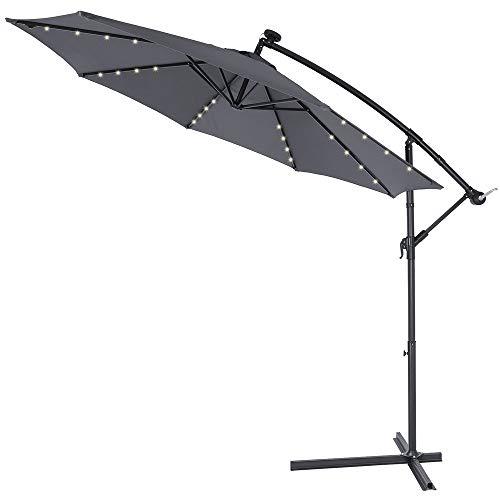 Kingsleeve | Parasol déporté en Aluminium • Ø3,3m • Anthracite • Mali • éclairage 32 LED • Lampe Solaire • Protection, manivelle, Jardin, terrasse, Balcon, Soleil