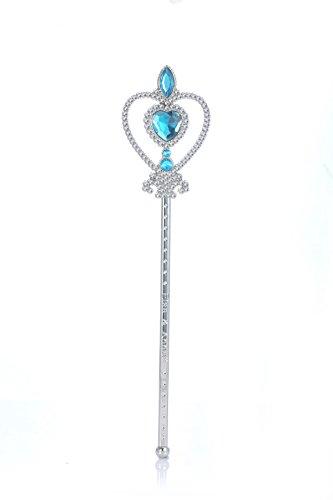 ELSA & ANNA® Mädchen Schnee Königin Prinzessin Qualität Strass Zauberstab Verrücktes Kleid Stäbe Party Stäben Stangen (Blau)