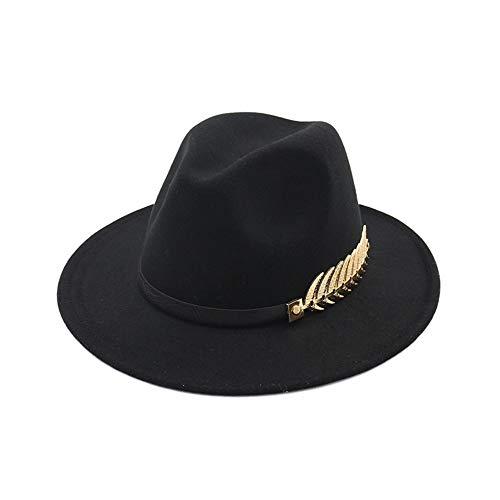 Wide Flat Brim Wollfilz Metall Blätter Jazz Hut Woll Western Cowboy Hut Floppy Hat für Männer Frauen Herbst und Winter Britischen Retro Hut Hut (Farbe : Schwarz) Justin Womens Hut