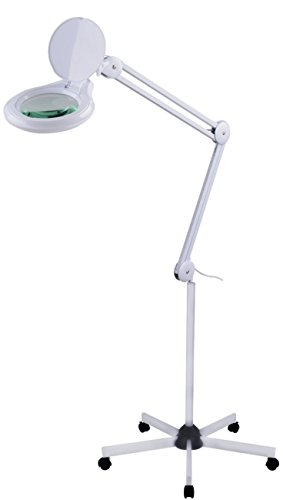LED Lupenleuchte, LED Lupenlampe dimmbar, Kosmetik, mit Roll-Stativ, 125mm 8 Dioptrien Linse, 60 LED 14W ()