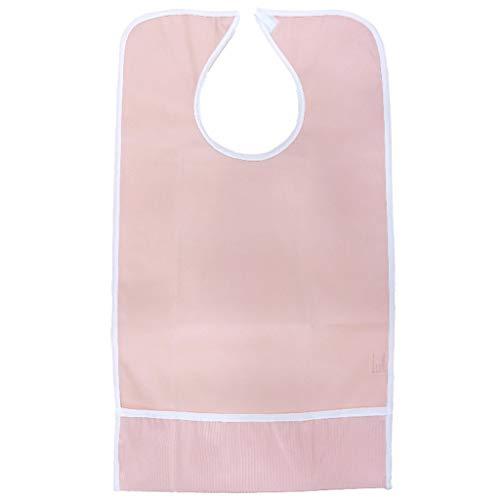 Lätzchen Aus Frottee Für Erwachsene Absorbierender Wasserdichter Kleidungsschutz Für Männer, Frauen Und ältere Menschen Mit Behinderungen - Rosa