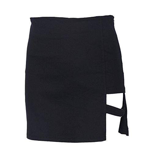Lamdoo Korean Style Black Package Hip Skirts Gap Irregular Hem Pencil Micro Mini Skirt