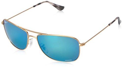 Ray-Ban Unisex-Erwachsene Sonnenbrille Rb 3543 Matte Gold/Bluepolarflash, 59