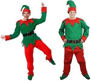 ILOVEFANCYDRESS Weihnachts ELF KOSTÜM WICHTEL VERKLEIDUNG= ROT GRÜNES KOSTÜM=MÜTZE MIT Ohren=Schuhe MIT GRÜNEN Pompoms=Hose MIT Gummizug=GRÜNES Oberteil=SCHWARZEN Plastik GÜRTEL-XXLarge