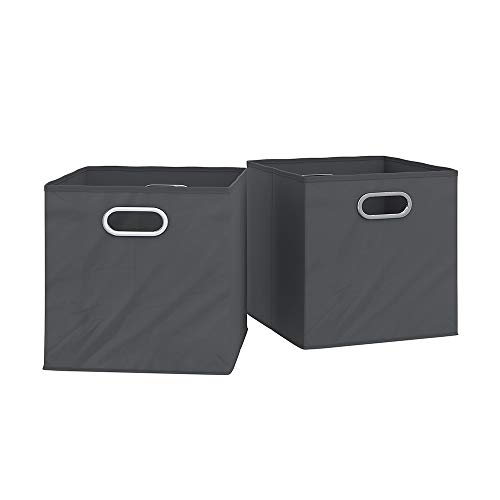 Vicco 2er Set Faltbox 30x30 cm Faltkiste Aufbewahrungsbox Regalkorb Regalbox mit Metallösen/Passend Regalen (anthrazit)