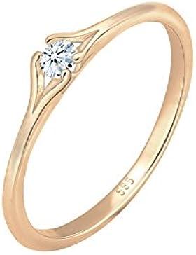 Diamore Damen-Soltär Verlobungsring mit Rund Diamant - Ringgröße 56 (17.8) 0606962717_56