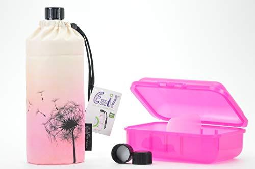 Trinkflaschenset aus 1 Emil die Flasche 0,6l + kompatibles Deckel Set + Brotdose von Blueraccoon Pusteblume Brotdose pink
