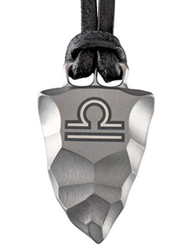 Element of Gods Titan Faustkeil Sternzeichen Waage Amulett aus Reintitan Herrenschmuck Anhänger Lederband (45)
