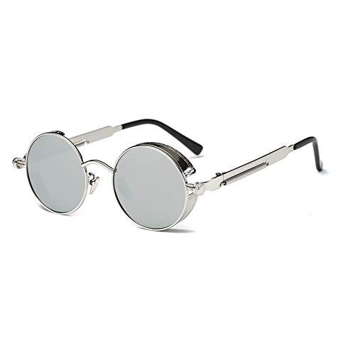 TOOSD Sonnenbrille Polarisierte Unisex Metallgestell Fahren Schutz Brille Flieger-Sonnenbrille Objektiv Einheitsgröße Runde Ersatzscheiben,Metallic
