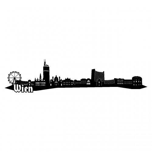 Wandtattoo Wien Skyline Wandaufkleber in 6 Größen und 19 Farben (230x52cm schwarz)