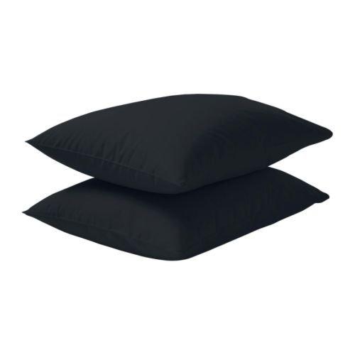 IKEA DVALA - Taie d'oreiller, noir / 2 pièces - 50x80 cm