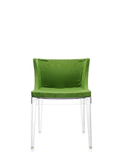 Mademoiselle+Sedia+struttura+trasparente,+damast+green+Stoff+Damast,+Standard