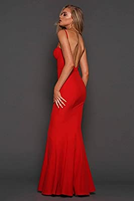 Elle Zeitoune Abba red Low Back Bustier Gown