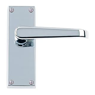 8 x Sets Victorian Straight Door Handles Lever Latch 120 x 40mm- Polished Chrome Premium Quality - Golden Grace