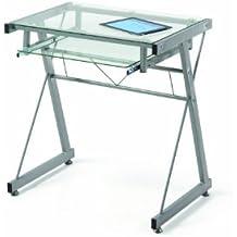 Mesa de ordenador mesa pc diseño moderno , metal y cristal