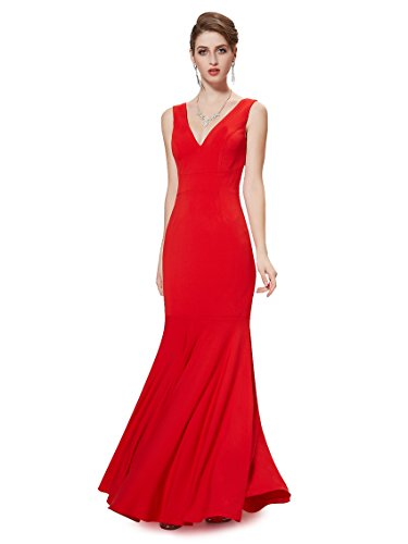 Ever Pretty Sexy V-Ausschnitt rot lang Brautjungfer Party Kleid 08290 rot