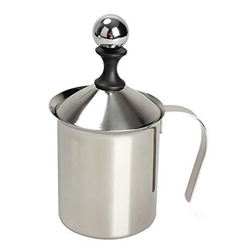 Edelstahl Milchaufschäumer Doppel Milch Creamer Milchschaum Cappuccino-Pumpe Kaffee Schaum Kaffee/Milch Topf Küchenwerkzeug (Größe : 400ml) -