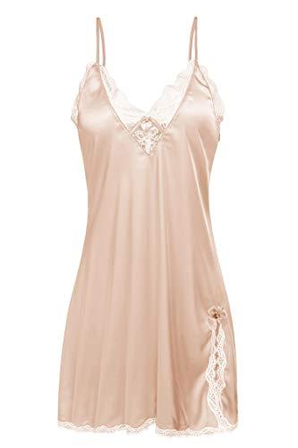 ADOME Nachthemd Stain Nachtwäsche Sexy Negligee Damen V-Ausschnitt Sommer Sleepwear Dessous Trägerkleid