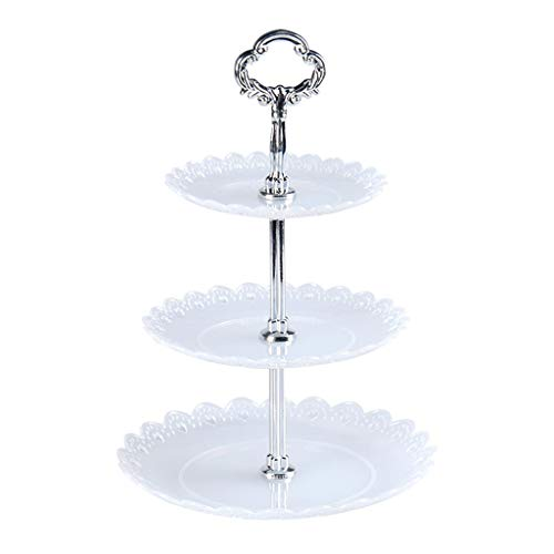 3 Tier Cupcake Stand, Plastic Tiered Serving Stand, Dessert Tower Tray Riser Pedestal Platter Rack Serving Tray for Tea Party, Baby Shower and Wedding, Birthday, Graduation (White)