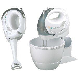 Handmixer-Set 3 in 1 (3 Liter Rührschüssel, 5-Stufen Schaltung, Edelstahl Knethaken, Pürierstab und Quirl, 250 Watt)