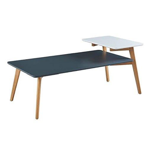 ALEXANDRA Table basse vintage en bois chene massif et MDF laqué gris et blanc satiné - L 125 x l 60 cm