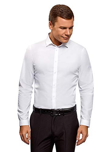 Oodji ultra uomo camicia basic slim fit, bianco, 43cm / it 52 / eu 43 / l