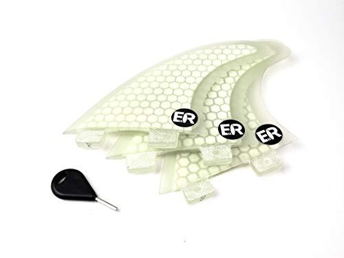 Eisbach Riders Surfboard FCS Fiberglass Honeycomb Fin Thruster Set mit Fin Key (Größe G5 Medium) - Finnen Flossen für Surfbrett und SUP (Weiß)
