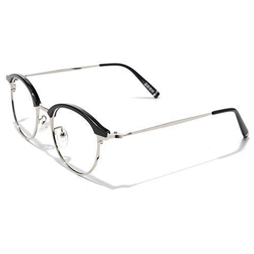 CGID Rundes Brillengestell Browline TR90 Metallrahmen 2019 Neue Mode nicht verschreibungspflichtige Brille für Damen und Herren
