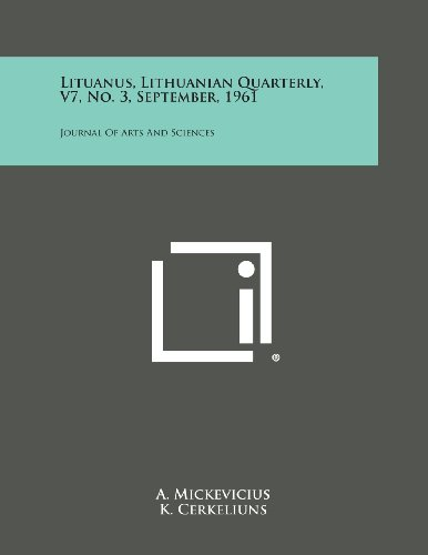 Lituanus, Lithuanian Quarterly, V7, No. 3, September, 1961: Journal of Arts and Sciences