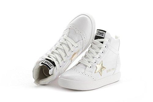 Damen Dicke Sohle Sterne Schnürsenkel Flache Sportliche Bequeme Plateau Aufzug Sneakers Weiß